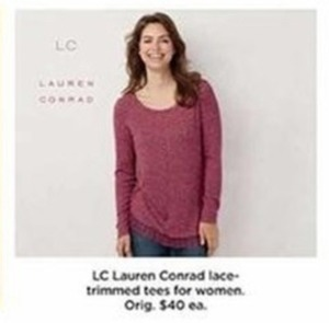 LC Lauren Conrad Lace Trimmed Tees For Women