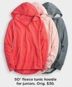 SO Fleece Tunic Hoodie For Juniors
