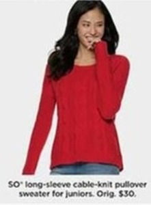 SL Long Sleeve Cable Knit Pullover Sweater For Juniors