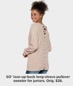 SO Lace-Up Back Long-Sleeve Pullover Sweater for Juniors