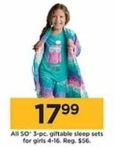 All SO 3 Pc. Giftable Sleep Sets For Girls, Sizes 4-16 - Kohls Cash