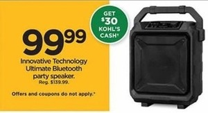 Innovative Technology Ultimate BLuetooth Party Speaker +$30 Kohl's Cash