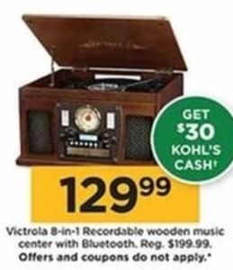 Victrola 8 in 1 Recordable Wooden Music Center, Bluetooth - $30 Kohls Cash