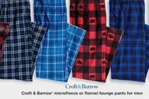 Croft and Barrow Microfleece or Flannel Lounge Pants for Men