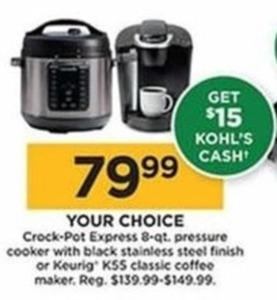 Crock-Pot Express 8-Qt Pressure Cooker - $15 Kohls Cash