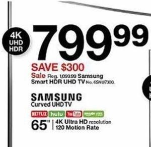 "Samsung 65"" Smart HDR UHD TV"