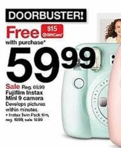 Fujifilm Instax Minl 9 Camera - FREE $15 Target Giftcard w Purchase
