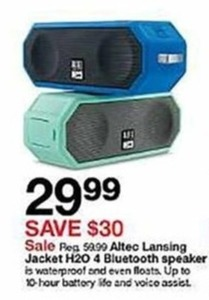 Alteo Lansing Jacket H20 Bluetooth Speaker