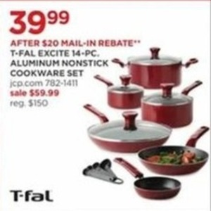 T-Fal Excite 14 Pc Aluminum Nonstick Cookware Set (After Rebate)