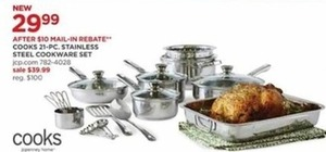 Cooks 21 pc Stainless Steel Cookware Set After Rebate