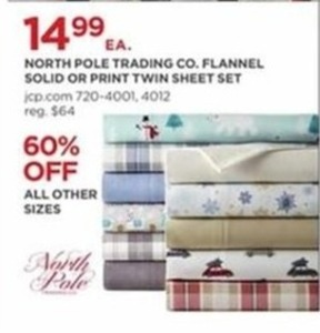 North Pole Trading Co.Flannel Solid Or Print Twin Sheet Set