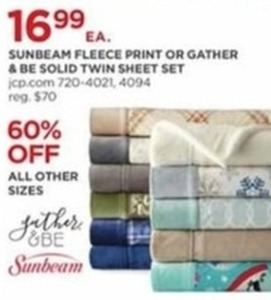 Sunbeam Fleece Print Or Gather Be Solid Twin Sheet Set