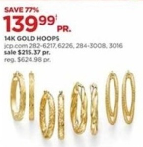 136ea0280 14k Gold Hoop Earrings - $139.99 at JCPenney on Black Friday