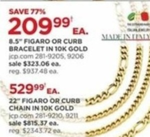 """22"""" Figaro or Curb Chain 10K Gold"""