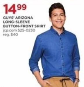 Guys Arizona Long Sleeve Button Front Shirt