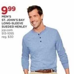 Men's St. Johns Bay Long-Sleeve Sueded Henley