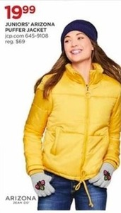 af75d21860c Juniors  Arizona Puffer Jacket -  19.99 at JCPenney on Black Friday