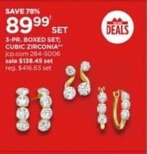 3-PR. Boxed Set; Cubic Zirconia Jewelry