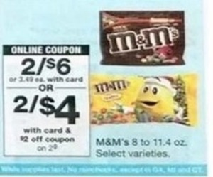 M&M's Select Varieties - With Card & $2 Coupon
