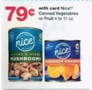 Nice Canned Vegetables of Fruit 4-11 oz. - With Card