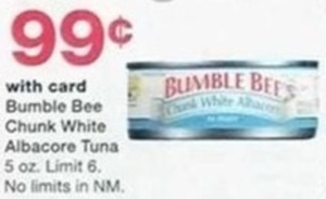 Bumble Bee Chunk White Albacore Tuna w/Card