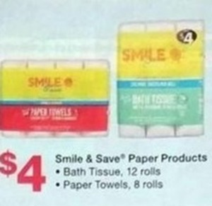 Smile & Save Paper Products Bath Tissue and Paper Towels