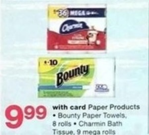 Bounty Paper Towels 8 rolls or Charmin Bath Tissue 9 mega Rolls w/Card
