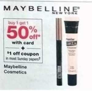 Maybeline Cosmetics w/Card + $1 off coupon