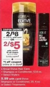 L'Oreal Elvive Hair Care w/Card + $3 Off Coupon