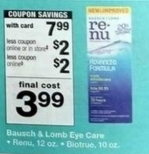 Bausch & Lomb Eye Care w/Card + $2 Off Coupon +$2 Coupon