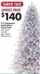 7.5' Bozeman Prelit Silver Tinsel Tree