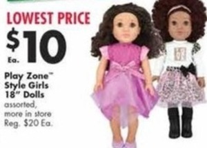 "Play Zone Style Girls 18"" Dolls"