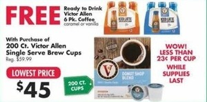 Ready To Drink Victor Allen 6 Pk. Coffee w/ Purchase Of 200 Ct. Victor Allen Single Serve Brew Cups