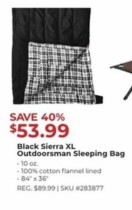 Black Sierra XL Outdoorsman Sleeping Bag