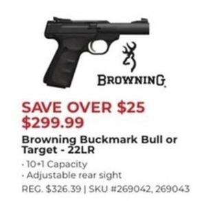 Browning Buckmark Bull or Target 22 LR Handgun