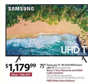"Samsung 75"" 4K UHD HDR Smart LED TV w Bonus 3 Year Warranty, HDMI Cable & FREE White Glove Delivery"