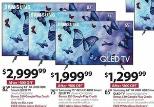 "Samsung 82"" 4K UHD HDR Smart QLED TV w BONUS $50 Google Play Credit"