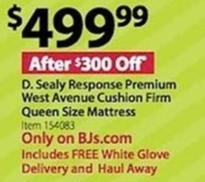 D. Sealy Response Premium West Avenue Cushion Firm Queen Mattress - FREE White Glove Delivery