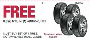 BUY 4 Tires, Get 1 Installation FREE