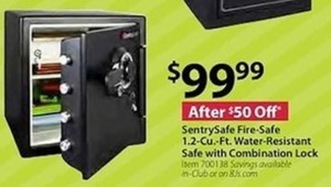 SentrySafe Fire-Safe 1.2 Cu. Ft. Water Resistant Safe w Combination Lock