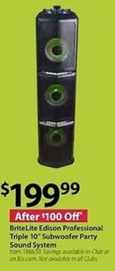 "BriteLite Edison Professional Triple 10"" Subwoofer Party Sound System"