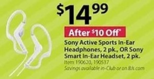 Sony Active Sports In Ear Headphones 2 Pk. Or Sony Smart In Ear Headset 2 Pk.