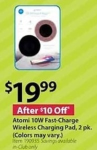 Atomi 10W Fast-Charge Wireless Charging Pad, 2 Pack