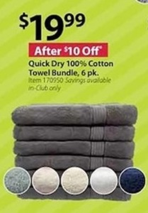 Quick Dry 100% Cotton Towel Bundle 6-Pk.