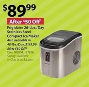 Frigidaire 26 Lbs./Day Stainless Steel Compact Ice Maker