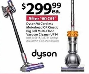 Dyson V8 Cordless Motorhead or Cinetic Big Ball Multi-Floor Vacuum UP14