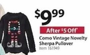 Como Vintage Novelty Sherpa Pullover