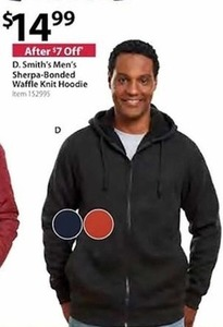 Smith's Men's Sherpa-Bonded Waffle Knit Hoodie