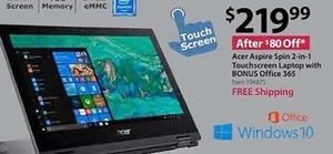 Acer Aspire Spin 2-in-1 Touchscreen Laptop with Bonus Office 365 - Free Shipping