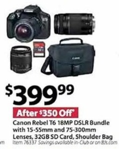 Canon Rebel T6 18MP DSLR Bundle